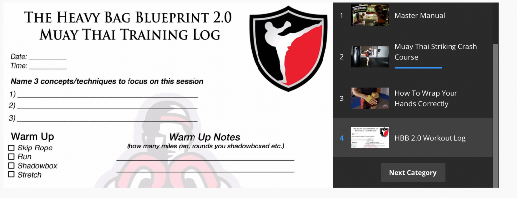 Review and breakdown of the heavy bag blueprint 20 program muay this is followed by a video on wrapping your hands in a couple of different styles and another download of a workout log to keep keep track of training and malvernweather Gallery